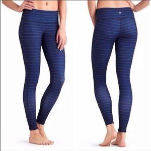Athleta Chaturanga Blue Stripe Tights Leggings